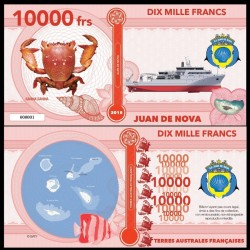 JUAN DE NOVA - Billet de 10000 Francs - Série CRABES: Ranine dentée - 2018