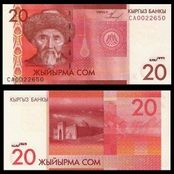 KIRGHIZISTAN - Billet de 20 Som - Togolok Moldo - 2009
