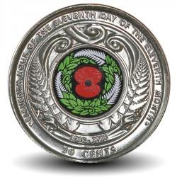 NOUVELLE ZELANDE - PIECE de 50 Cents - Centenaire de l'armistice de 1918 - 2018 - Colorisée