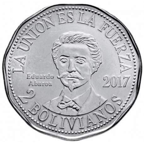 BOLIVIE - PIECE de 2 Bolivianos - Eduardo Abaroa - 2017