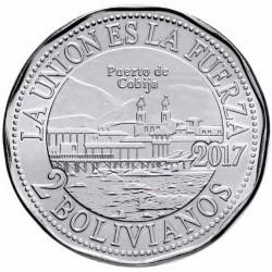 BOLIVIE - PIECE de 2 Bolivianos - Port de Cobija - 2017 Km#223
