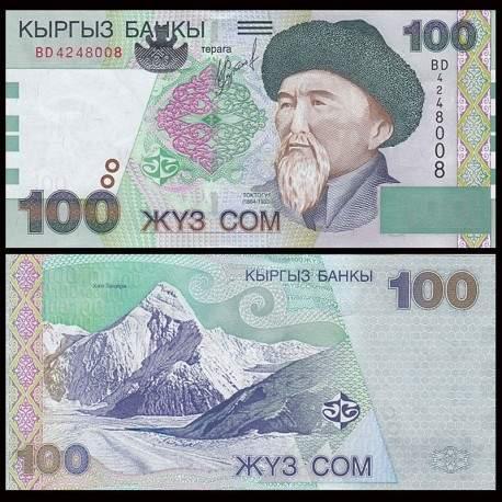KIRGHIZISTAN - Billet de 100 Som - Toktogul Satylganov - 2002 P21a