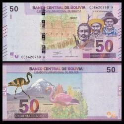 BOLIVIE - Billet de 50 Bolivianos - Flamant des Andes - 2018