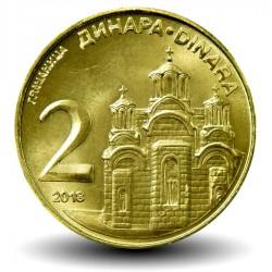 SERBIE - PIECE de 2 Dinara - Monastère de Gračanica - 2013