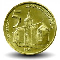 SERBIE - PIECE de 5 Dinara - Monastère de Krušedol - 2013