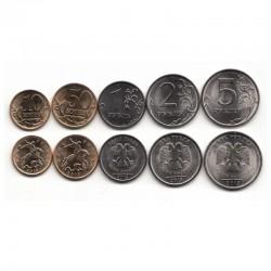 RUSSIE - SET / LOT de 5 PIECES de 10 50 Kopecks 1 2 5 Roubles - 2013