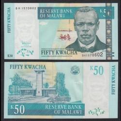 MALAWI - Billet de 50 Kwacha - Révérend John Chilembwe - 2007