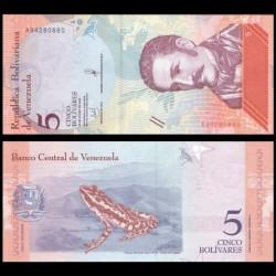 VENEZUELA - Billet de 5 Bolivares - Grenouille rayée Sapito - 15-01-2018