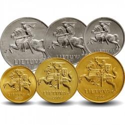LITUANIE - SET / LOT de 6 PIECES de 1 2 5 10 20 50 Centu - 1991 2000 2009 2010 Km#85 86 87 106 107 108