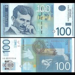 SERBIE - Billet de 100 Dinara - Nikola Tesla - 2012