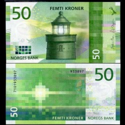 NORVEGE - Billet de 50 Kroner - Phare d'Utvær - 2017 P53a