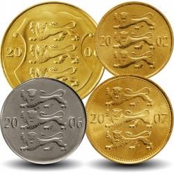 ESTONIE - SET / LOT de 4 PIECES - 10 20 50 Senti 1 Krooni - 2006 2007 2008