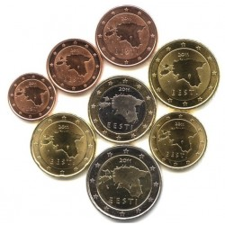 ESTONIE - SET / LOT de 8 PIECES de 1 2 5 10 20 50 Cents 1 2 Euro - 2011 Km#61 62 63 64 65 66 67 68