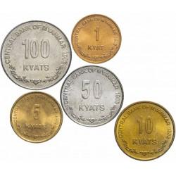 BIRMANIE / MYANMAR - SET / LOT de 5 PIECES - 1 5 10 50 100 Kyats - 1999