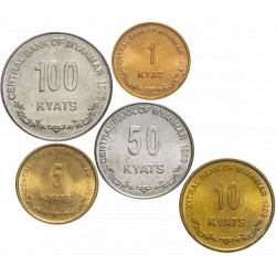 BIRMANIE / MYANMAR - SET / LOT de 5 PIECES - 1 5 10 50 100 Kyats - 1999