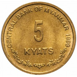 BIRMANIE / MYANMAR - PIECE de 5 Kyats - Chinthes (Lion birman) - 1999