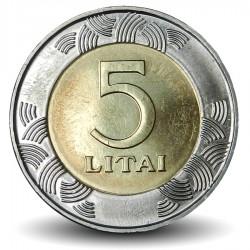 LITUANIE - PIECE de 5 Litai - Chevalier Vytis - Bimétal - 2009