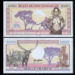 CONGO - Billet de 1000 Francs - Billet de test Congolais - 2018