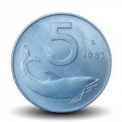 ITALIE - PIECE de 5 Lires - Dauphin - 1982