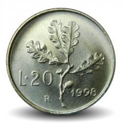 ITALIE - PIECE de 20Lire - Rameau de chêne - 1998 Km#97.2