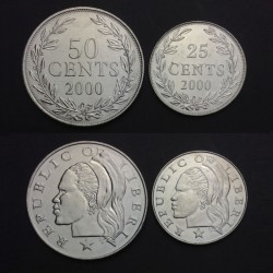 LIBERIA - SET / LOT de 2 PIECES de 25 50 Cents - 2000 Km#16b 17b