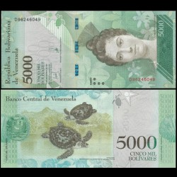 VENEZUELA - Billet de 5000 Bolivares - Tortues - 13.12.2017 P97c