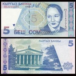 KIRGHIZISTAN - Billet de 5 Som - Bubusara Beishenaliyeva - 1997
