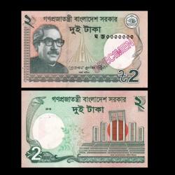 BANGLADESH - Billet de 2 Taka  - SPECIMEN - 2018
