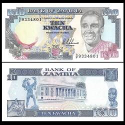 ZAMBIE - Billet de 10 Kwacha - Président Kenneth Kaunda - 1989