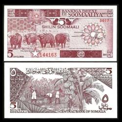 SOMALIE - Billet de 5 Shillings - Buffles - 1987