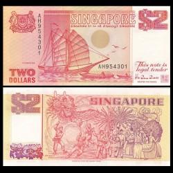 SINGAPOUR - Billet de 2 DOLLARS - Bateau Tongkang - 1990 P27a