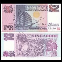 SINGAPOUR - Billet de 2 DOLLARS - Bateau Tongkang - 1997 P34a