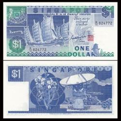 SINGAPOUR - Billet de 1 DOLLAR - Jonque Sha Chuan - 1987 P18a