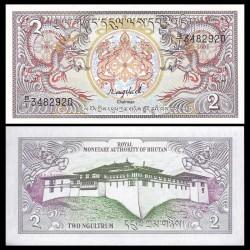 BHOUTAN - Billet de 2 Ngultrum - Dragons - 1986