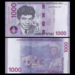 ARMENIE - Billet de 1000 DRAM - Paruyr Sevak - 2018