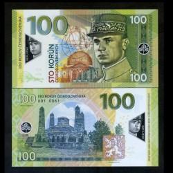 TCHÉCOSLOVAQUIE - Billet de 100 Korun - Milan Rastislav Štefánik - POLYMER - 2018 0100 - Gabris