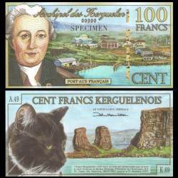 KERGUELEN - 100 Francs - YJ Kerguelen-Tremarec - 05.11.2010 - SPECIMEN - Chat - NEUF