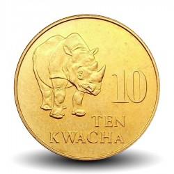 ZAMBIE - PIECE de 10 Kwacha - Rhinoceros noir - 1992 Km#32