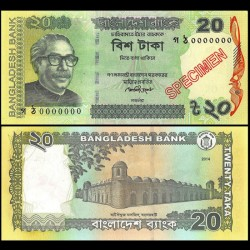 BANGLADESH - Billet de 20 Taka  - SPECIMEN - 2014