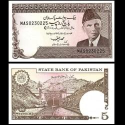 PAKISTAN - Billet de 5 Roupies - Tunnel ferroviaire de Khajak - 1993 / 1999