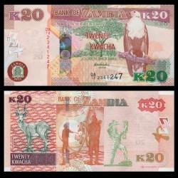 ZAMBIE - Billet de 20 Kwacha - Antilope noire de Lechwe - 2012