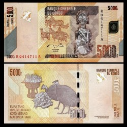 CONGO - BILLET de 5000 Francs - Statuette Hemba - 2005