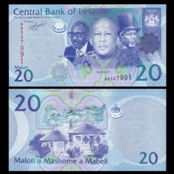 LESOTHO - Billet de 20 Maloti - Rois Letsie III, Moshoeshoe I et Moshoeshoe II - 2010