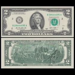 ETATS UNIS / USA - Billet de 2 DOLLARS - Thomas Jefferson - B(2) New York - 2013 P538aB
