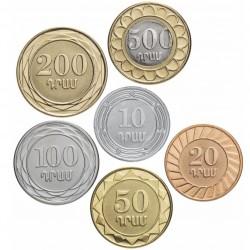 ARMENIE - SET / LOT de 6 PIECES de 10 20 50 100 200 500 DRAM - Bimétal - 2003 2004 Km#93 94 95 96 97 112