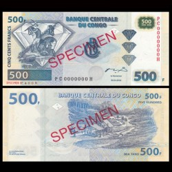 CONGO - BILLET de 500 Francs - Chercheurs de diamants - SPECIMEN - 2002