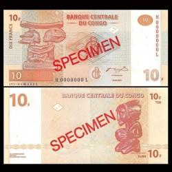 CONGO - BILLET de 10 Francs - Statue Luba - SPECIMEN - 2003