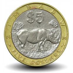 ZIMBABWE - PIECE de 5 Dollars - Rhinocéros - 2002