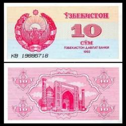OUZBEKISTAN - Billet de 10 Som - Médersa - 1992