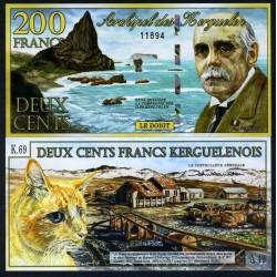 KERGUELEN - 200 Francs - René Baussière - 02.01.2012 - Chat